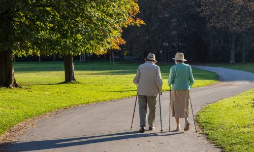 City park, autumn, Munich, Germany. View of a mature couple with walking sticks on a path