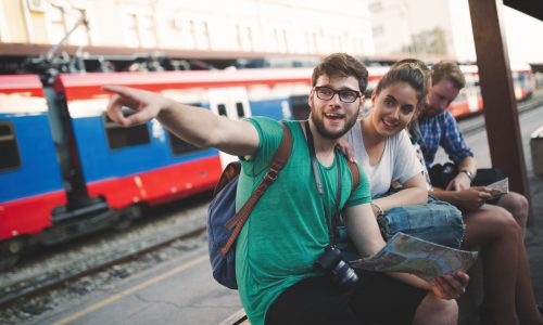 Traveling tourist backpacker  friends exploring Europe